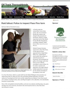 Raid fallout: Police to inspect Paso Fino farm